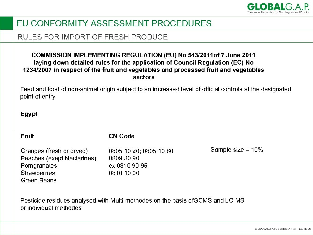 EU CONFORMITY ASSESSMENT PROCEDURES RULES FOR IMPORT OF FRESH PRODUCE COMMISSION IMPLEMENTING REGULATION (EU)