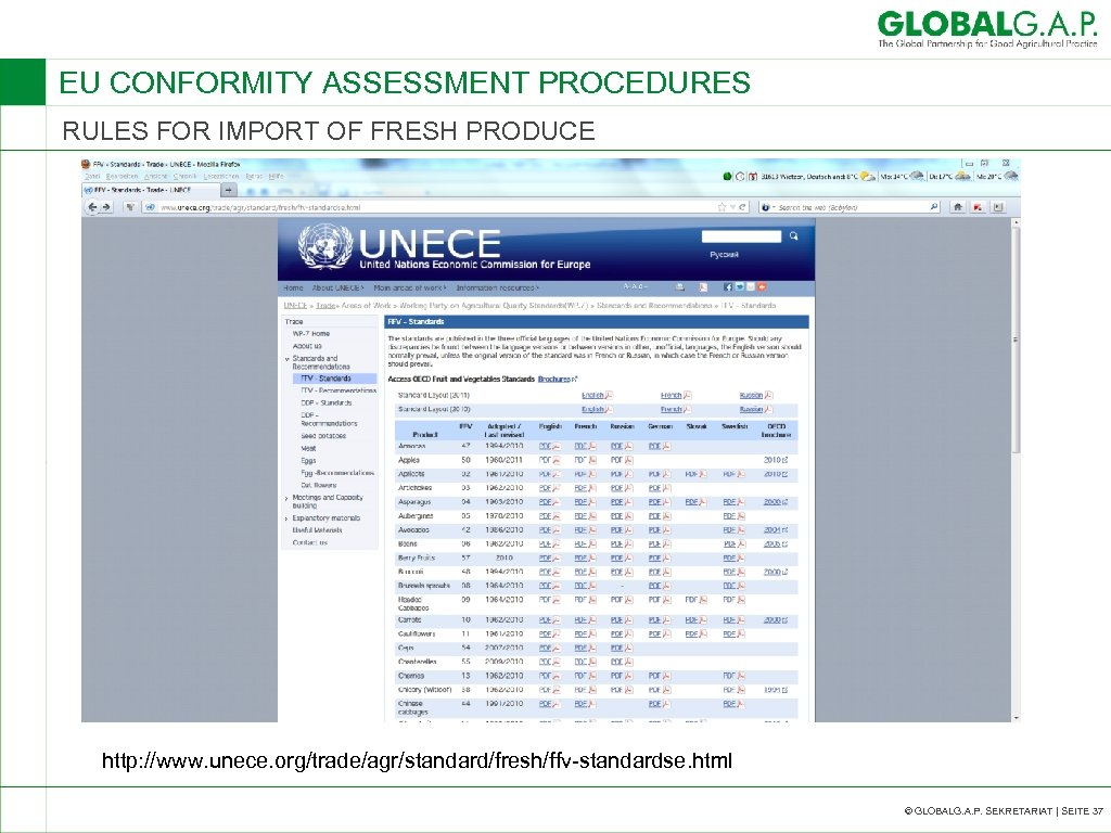 EU CONFORMITY ASSESSMENT PROCEDURES RULES FOR IMPORT OF FRESH PRODUCE http: //www. unece. org/trade/agr/standard/fresh/ffv-standardse.