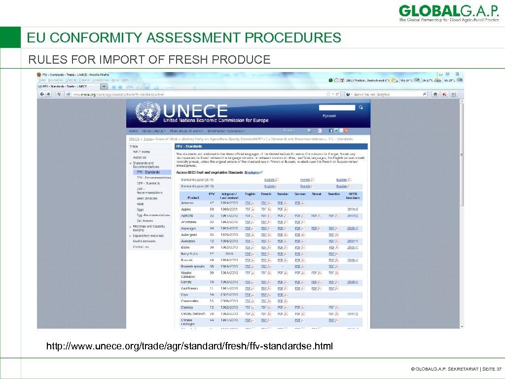 EU CONFORMITY ASSESSMENT PROCEDURES RULES FOR IMPORT OF FRESH PRODUCE http: //www. unece. org/trade/agr/standard/fresh/ffv-standardse.