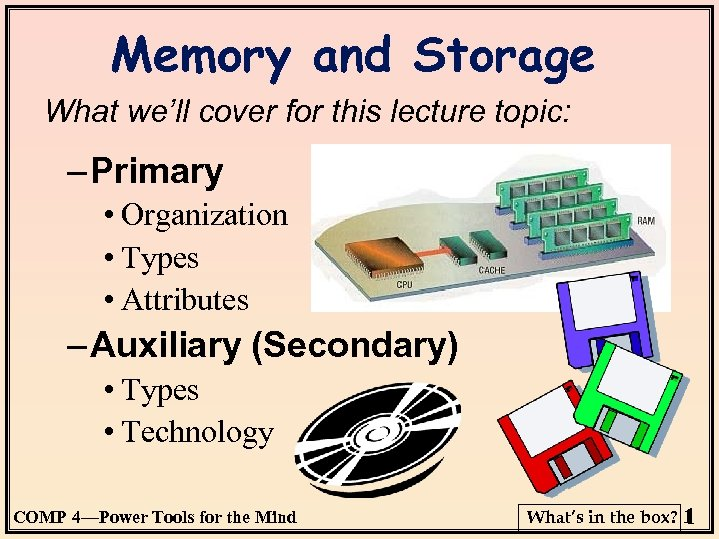 Memory and Storage What we'll cover for this lecture topic: – Primary • Organization
