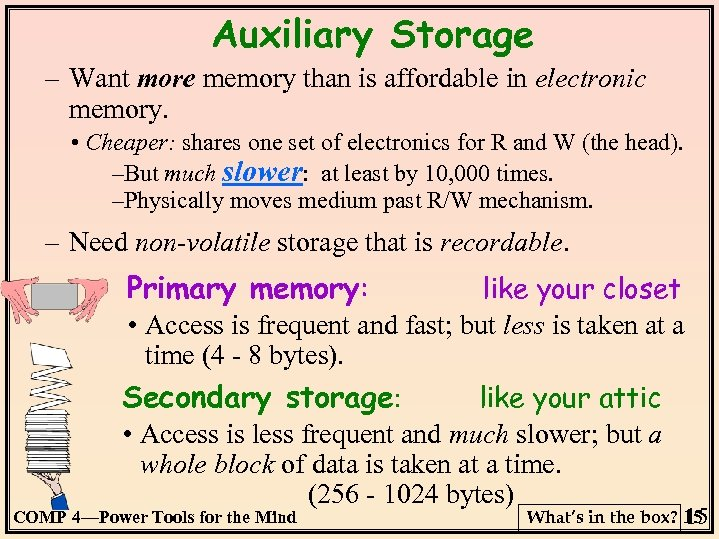 Auxiliary Storage – Want more memory than is affordable in electronic memory. • Cheaper:
