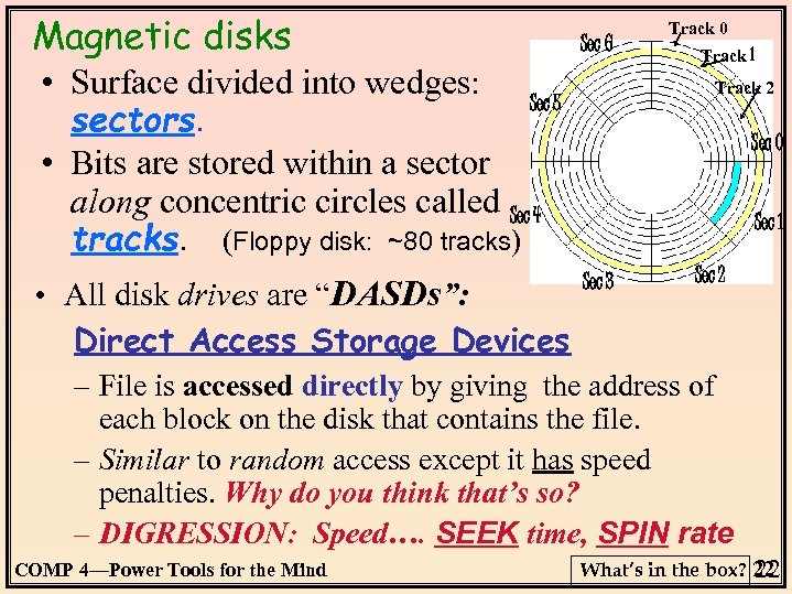 Magnetic disks • Surface divided into wedges: Sec 6 Track 1 Track 2 Sec