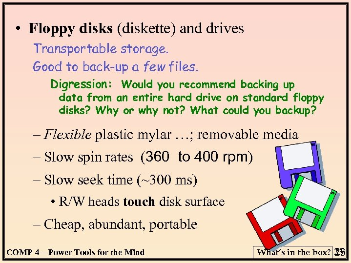 • Floppy disks (diskette) and drives Transportable storage. Good to back-up a few