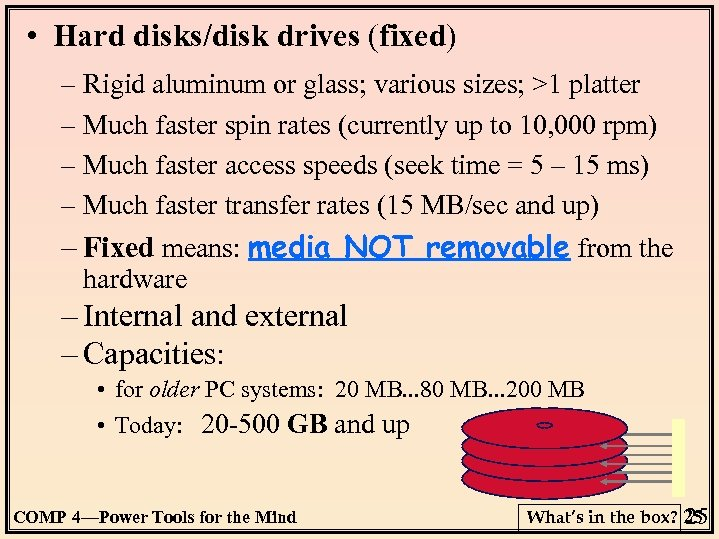 • Hard disks/disk drives (fixed) – Rigid aluminum or glass; various sizes; >1
