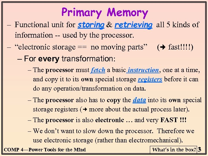 Primary Memory – Functional unit for storing & retrieving all 5 kinds of information