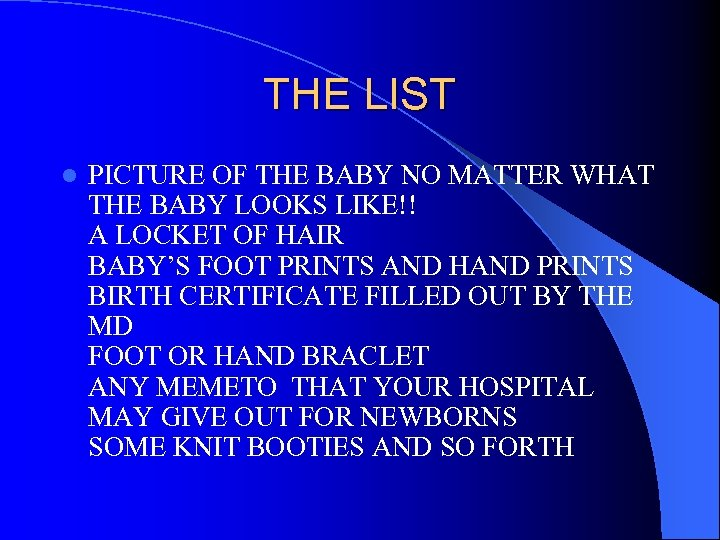 THE LIST l PICTURE OF THE BABY NO MATTER WHAT THE BABY LOOKS LIKE!!