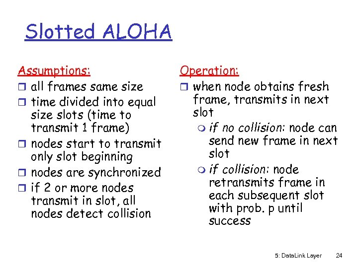Slotted ALOHA Assumptions: r all frames same size r time divided into equal size