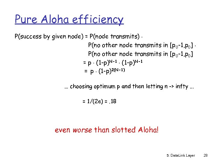 Pure Aloha efficiency P(success by given node) = P(node transmits). P(no other node transmits