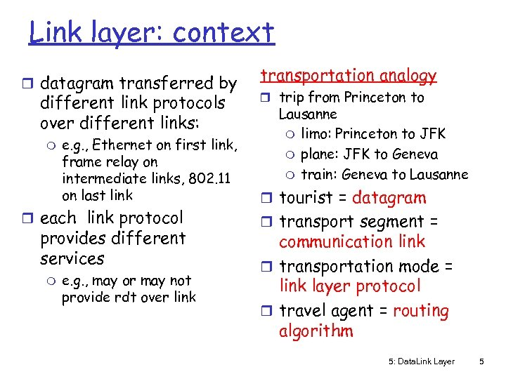 Link layer: context r datagram transferred by different link protocols over different links: m