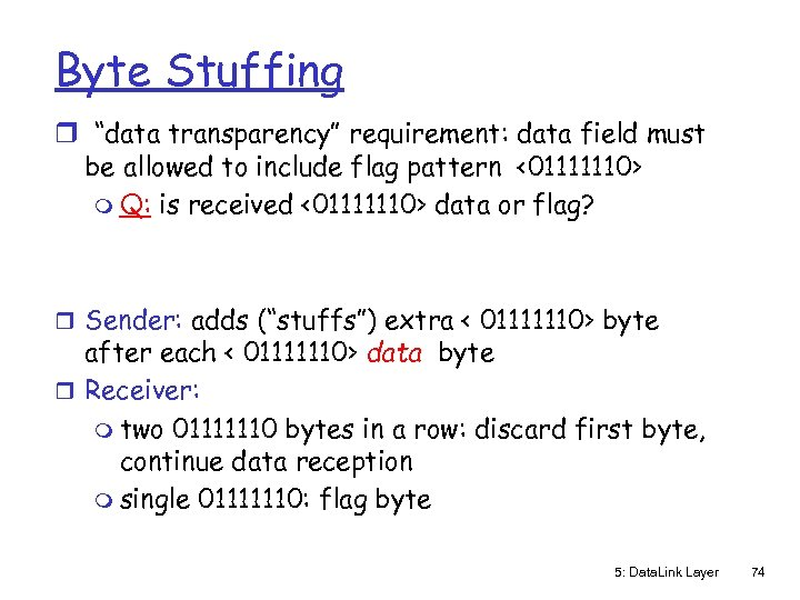 "Byte Stuffing r ""data transparency"" requirement: data field must be allowed to include flag"