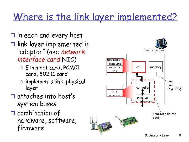 Where is the link layer implemented? r in each and every host r link