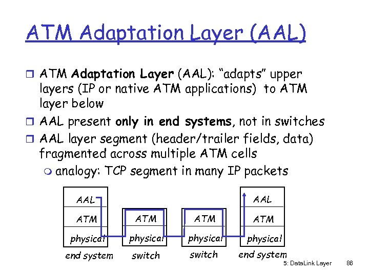 "ATM Adaptation Layer (AAL) r ATM Adaptation Layer (AAL): ""adapts"" upper layers (IP or"
