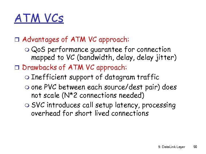 ATM VCs r Advantages of ATM VC approach: m Qo. S performance guarantee for