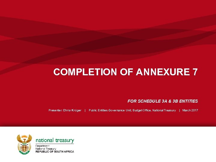 COMPLETION OF ANNEXURE 7 FOR SCHEDULE 3 A & 3 B ENTITIES Presenter: Chris