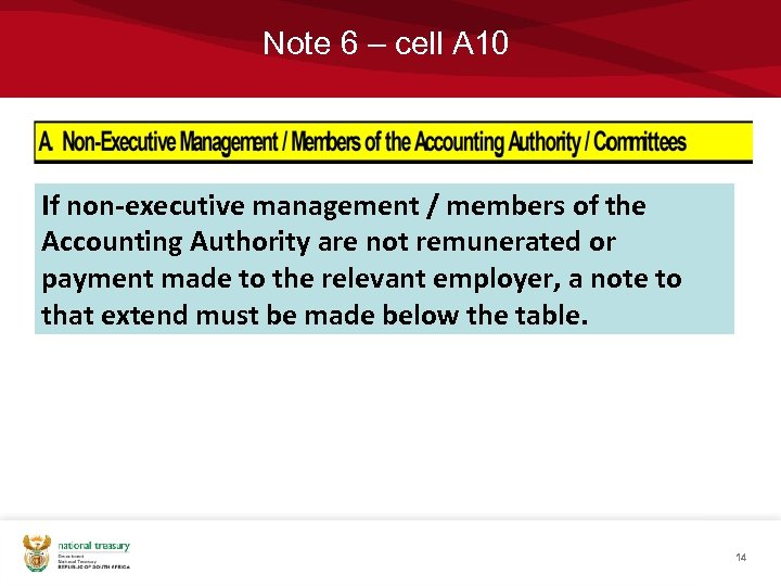 Note 6 – cell A 10 If non-executive management / members of the Accounting