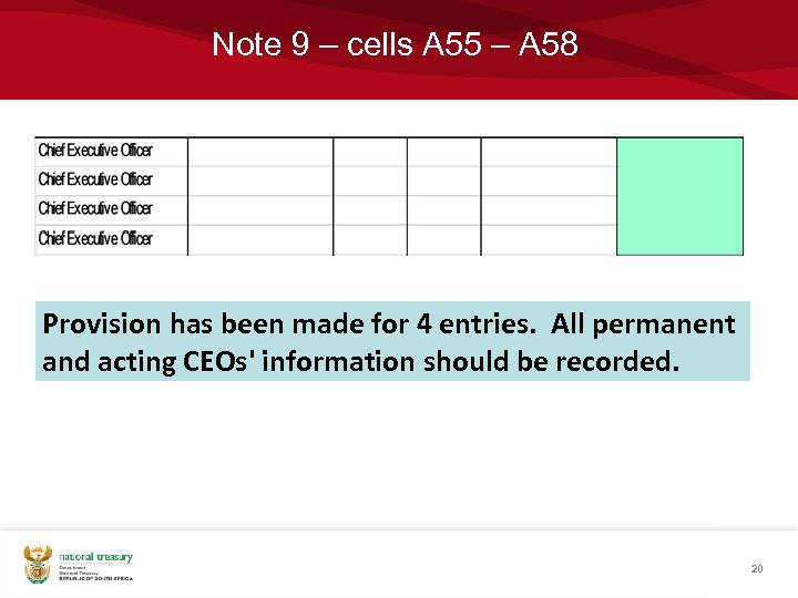 Note 9 – cells A 55 – A 58 Provision has been made for