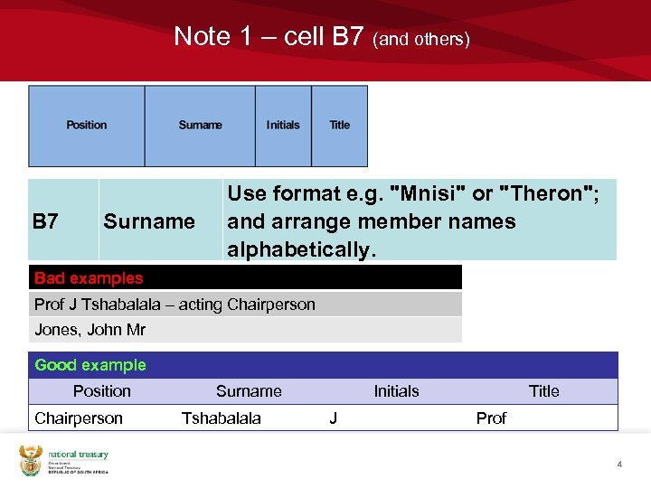 Note 1 – cell B 7 (and others) B 7 Surname Use format e.