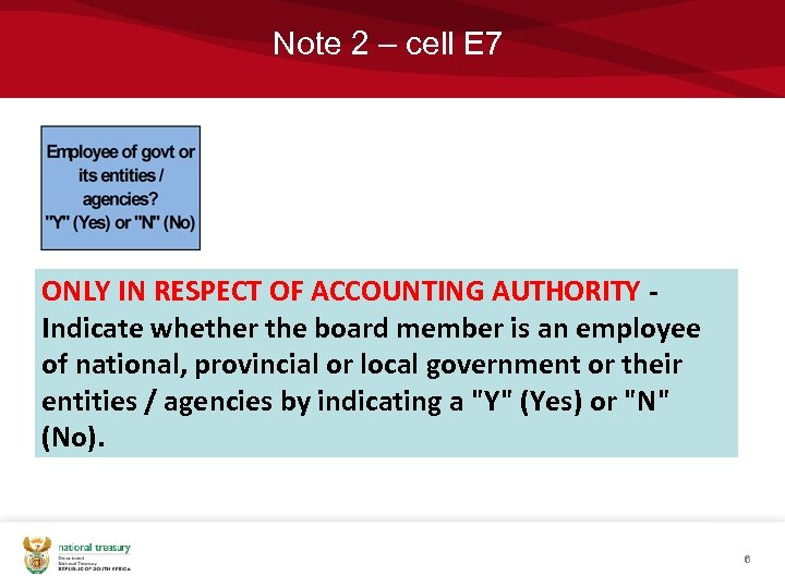 Note 2 – cell E 7 ONLY IN RESPECT OF ACCOUNTING AUTHORITY Indicate whether