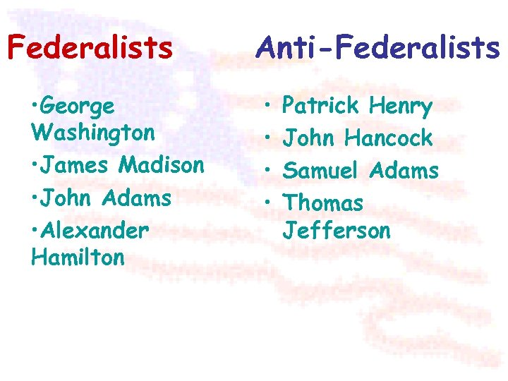 Federalists • George Washington • James Madison • John Adams • Alexander Hamilton Anti-Federalists