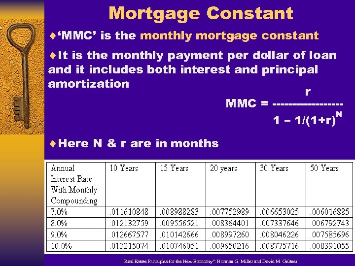 Mortgage Constant ¨'MMC' is the monthly mortgage constant ¨It is the monthly payment per