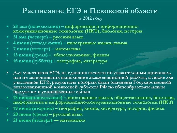 Расписание ЕГЭ в Псковской области в 2012 году • 28 мая (понедельник) – информатика