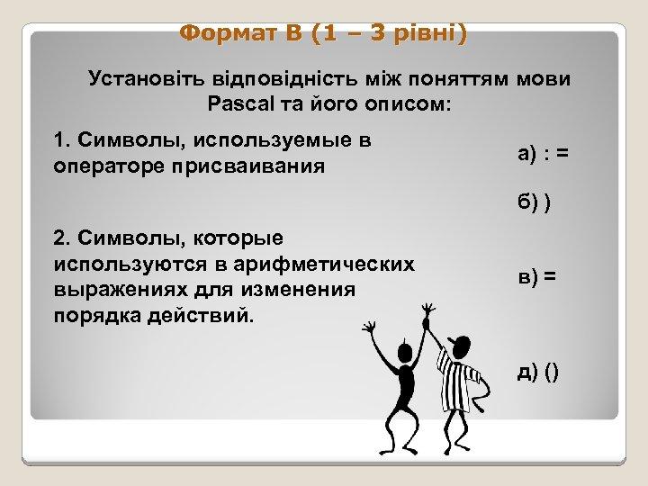 Формат В (1 – 3 рівні) Установіть відповідність між поняттям мови Pascal та його