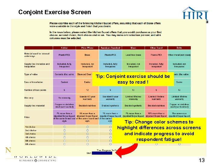 Conjoint Exercise Screen Tip: Conjoint exercise should be easy to read ! Tip: Change