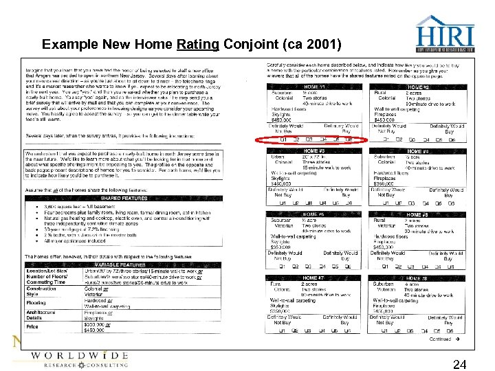 Example New Home Rating Conjoint (ca 2001) 24
