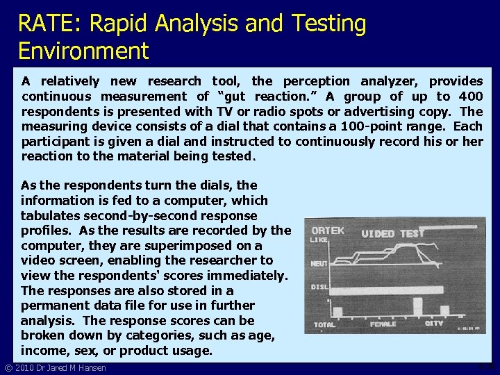 RATE: Rapid Analysis and Testing Environment A relatively new research tool, the perception analyzer,