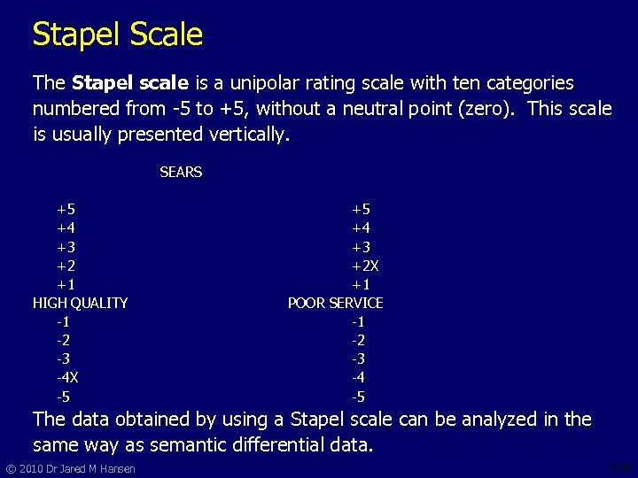 Stapel Scale The Stapel scale is a unipolar rating scale with ten categories numbered