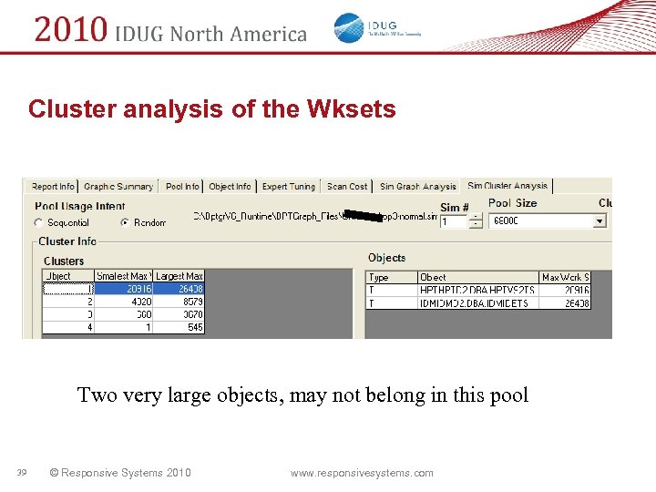 Cluster analysis of the Wksets Two very large objects, may not belong in this