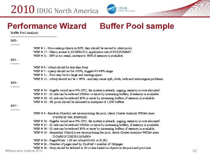 Performance Wizard Buffer Pool sample Buffer Pool Analysis ---------------------BP 0 : ------- WBP #