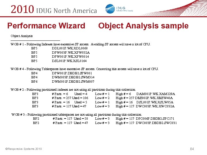 Performance Wizard Object Analysis sample Object Analysis ---------------------WOB # 1 - Following Indexes have
