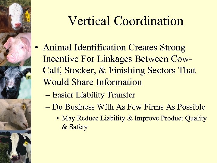 Vertical Coordination • Animal Identification Creates Strong Incentive For Linkages Between Cow. Calf, Stocker,