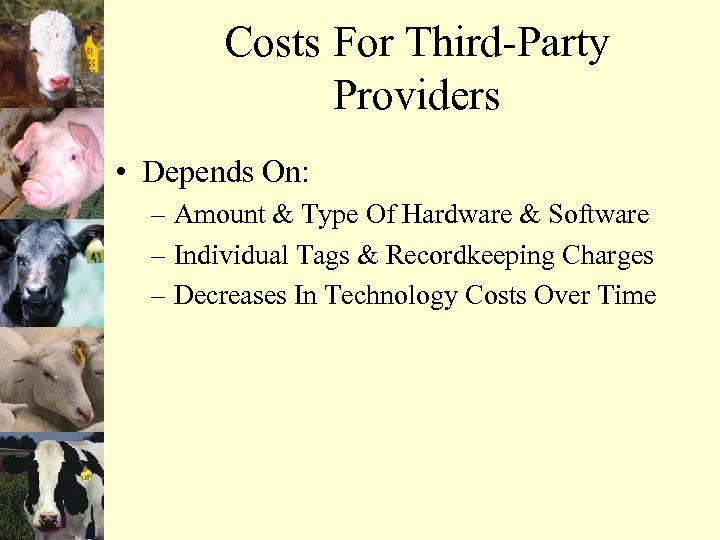 Costs For Third-Party Providers • Depends On: – Amount & Type Of Hardware &