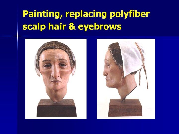 Painting, replacing polyfiber scalp hair & eyebrows