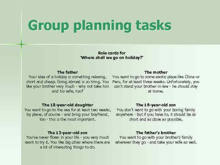Group planning tasks Role cards for 'Where shall we go on holiday? ' The