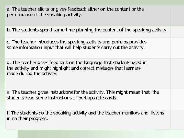 a. The teacher elicits or gives feedback either on the content or the performance