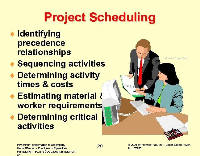 Project Scheduling © 1995 Corel Corp. PERT ¨ Identifying precedence relationships ¨ Sequencing activities
