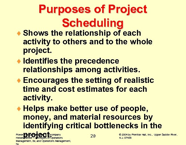 Purposes of Project Scheduling ¨ Shows the relationship of each activity to others and
