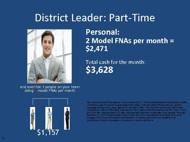 District Leader: Part-Time Personal: 2 Model FNAs per month = $2, 471 Total cash