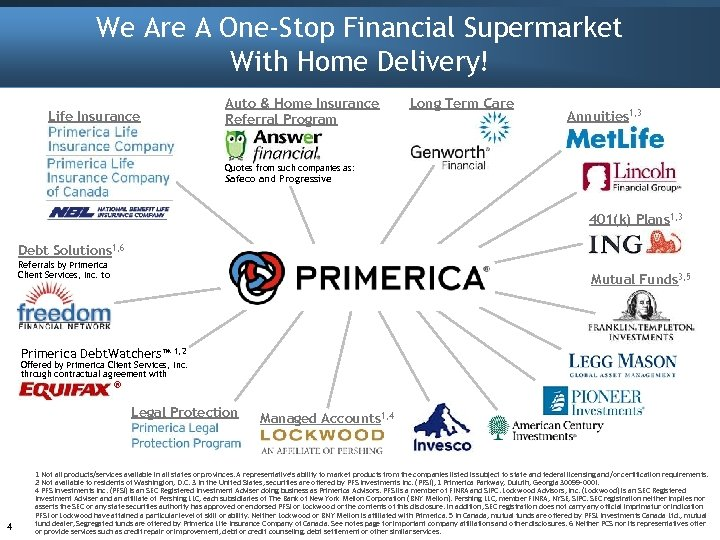 We Are A One-Stop Financial Supermarket With Home Delivery! Auto & Home Insurance Referral
