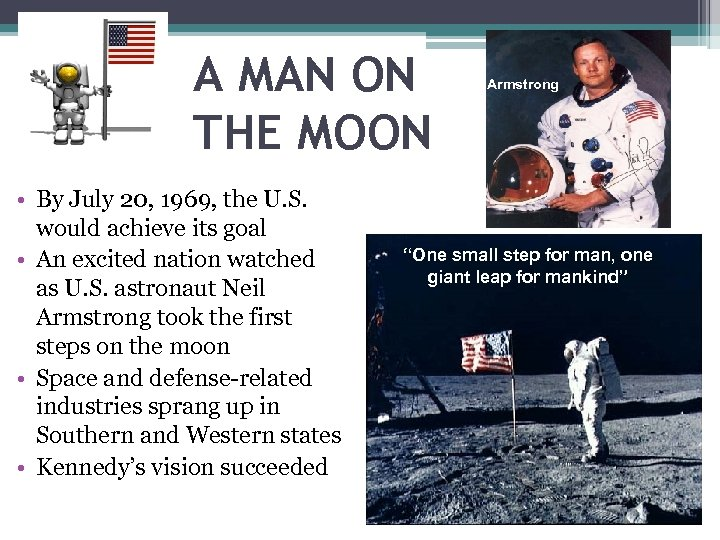 A MAN ON THE MOON • By July 20, 1969, the U. S. would