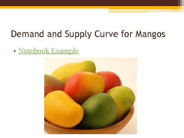 Demand Supply Curve for Mangos • Notebook Example