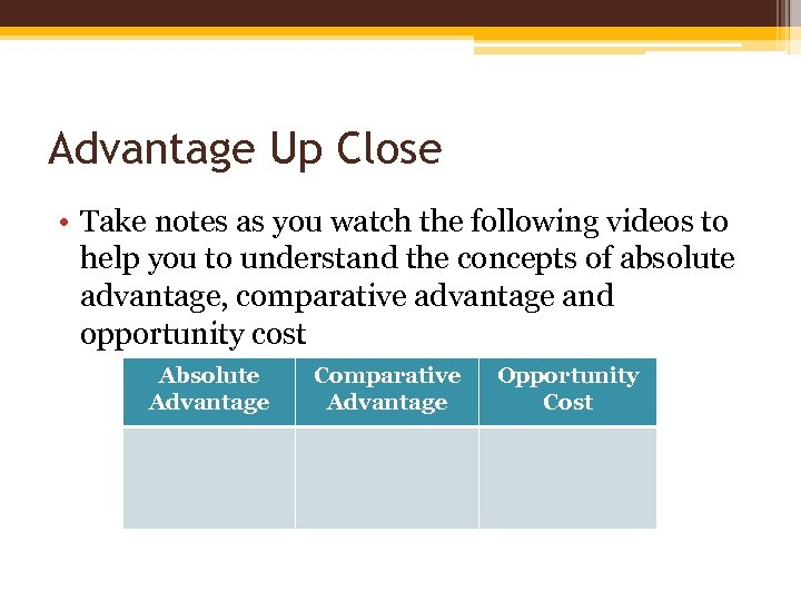 Advantage Up Close • Take notes as you watch the following videos to help
