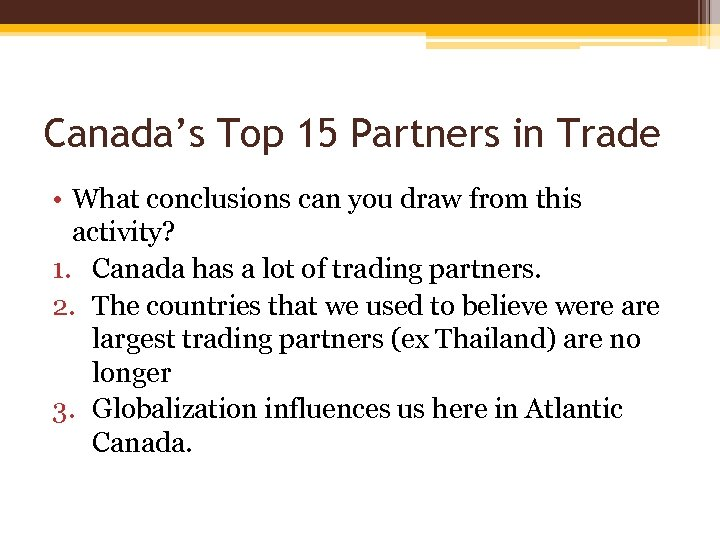 Canada's Top 15 Partners in Trade • What conclusions can you draw from this