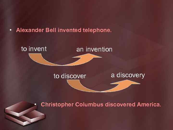 • Alexander Bell invented telephone. to invent an invention to discover a discovery