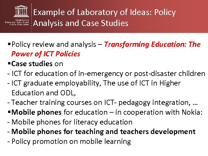 Example of Laboratory of Ideas: Policy Analysis and Case Studies § Policy review and