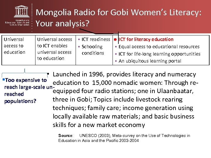 Mongolia Radio for Gobi Women's Literacy: Your analysis? Universal access to education Universal access