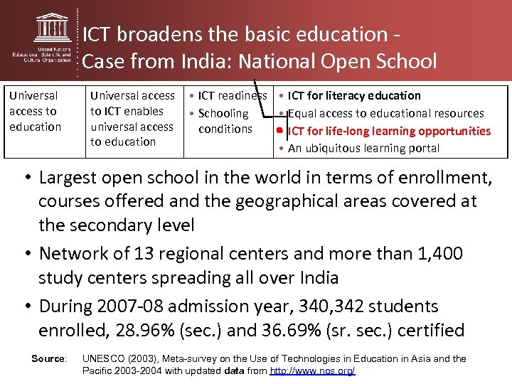 ICT broadens the basic education - Case from India: National Open School Universal access